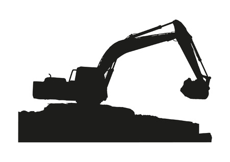 Sillhouette of excavator machine working on white background 免版税图像 - 30554746