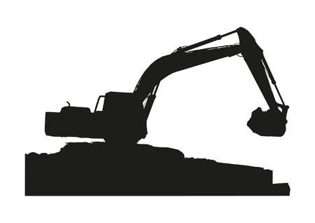 Sillhouette of excavator machine working on white background  Illustration