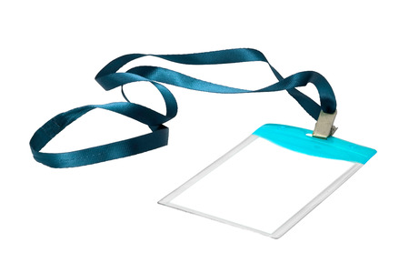 neckband: Blank identification card with blue neckband on white background.