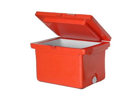 house ware: Orange plastic container for frozen on white background. Stock Photo