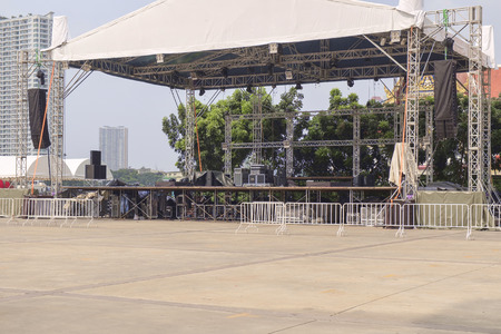 Area of outdoor stages prepare for concerts. Editorial