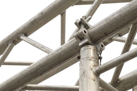 Close up metal scaffolding clamps. photo