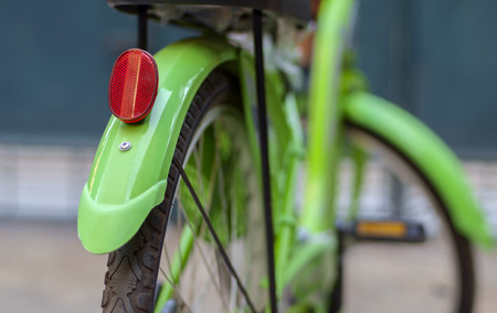 Close up of reflective glass of bicycle. Back view. Stock Photo