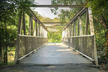 public park: Puente del hierro en el parque p�blico. Foto de archivo