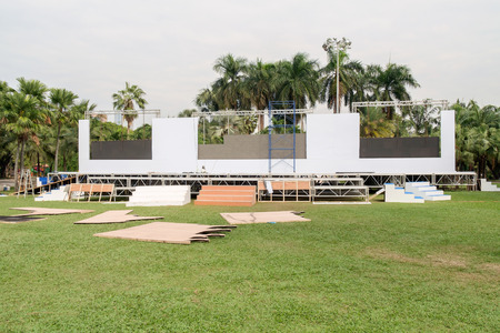 refurbish: Area of outdoor stages prepare for festival. Stock Photo
