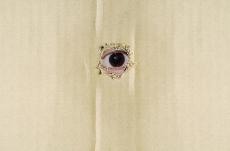 keek: Eye looking through hole in brown corrugated paper.