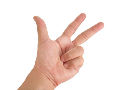 three fingers: Human hand showing the three fingers on white background. Stock Photo