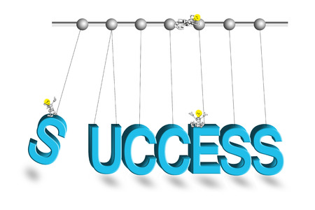 newtons cradle: Success word newtons cradle with cartoon hang on white background. Stock Photo