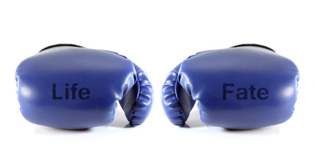 fate: Boxing gloves with word life and fate on white background. Life concept.