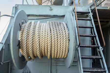 windlass: Large roll of rope on the big boat, shipboard equipment. Stock Photo