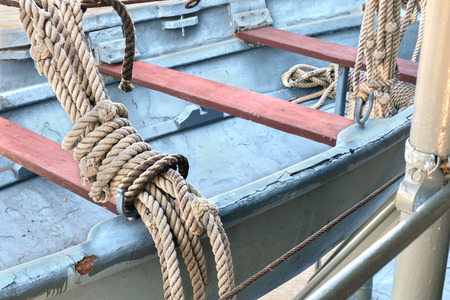coiled rope: Coiled rope on the ship.