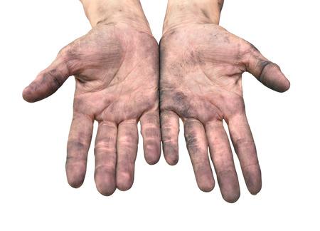 manos sucias: Manos sucias sobre fondo blanco. Foto de archivo
