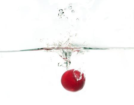 sherry: Water splash and sherry on white background.