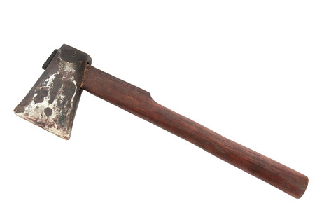 axe: Old and dirty axe on white background.