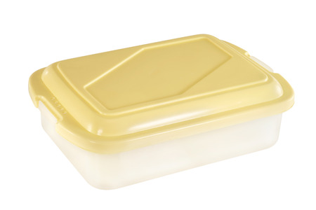 plastic container: Plastic container on white background.