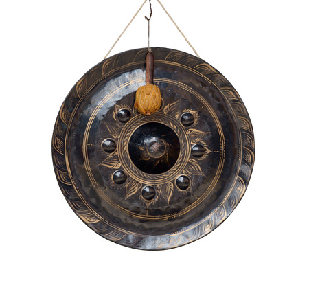gong: Old gong on white background. Stock Photo