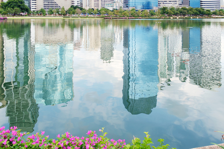 reflex: Reflex of building in the lake, abstract background.
