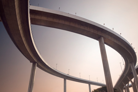 concrete construction: The curve of elevated expressway,Bhumibol bridge, Bangkok, Thailand.
