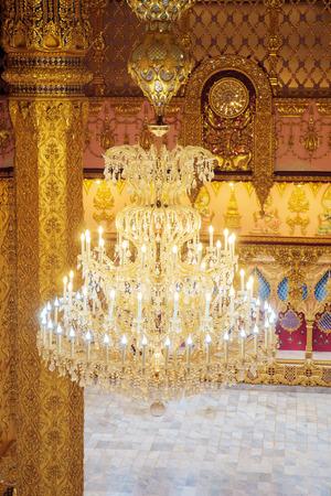 luminance: Decor lamp in temple, Wat Yai Chai Mongkol, Roy Ed, Thailand.