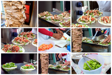kabob: Grilled meat kebab (also called kebab and kabob) traditional Middle East food.