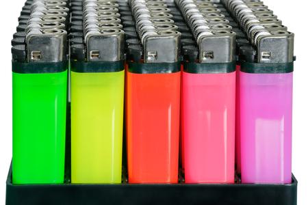gas lighter: Cigarette lighter set sort on white background. Stock Photo