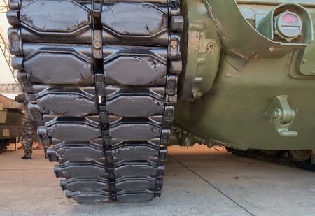 crawler: Military tank tracks,close up of crawler. Stock Photo