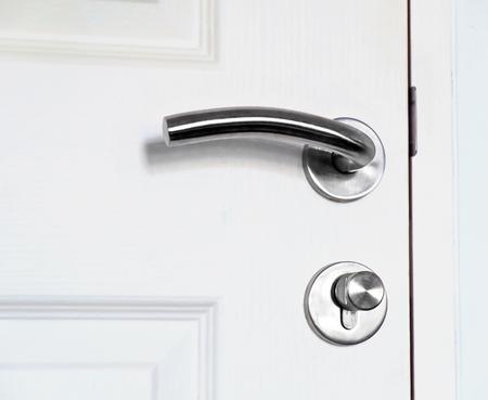 door knob: Close up door knob on white door.