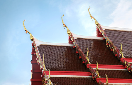 Gable apex on the roof of thai temple.