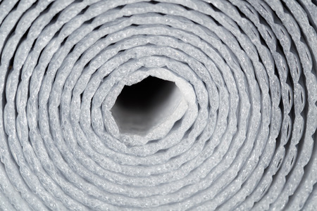 foil roll: Close up roll of aluminum foil. Front view. Stock Photo
