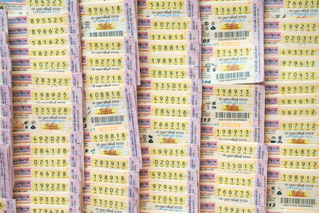 fortunate: Thai lottery tickets on February 16th, 2016. Stock Photo