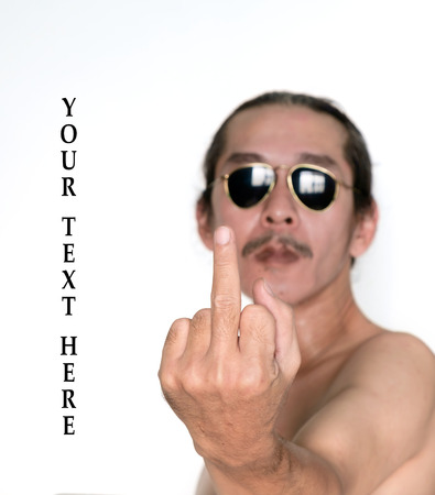 insulting: Man show middle finger on white background.