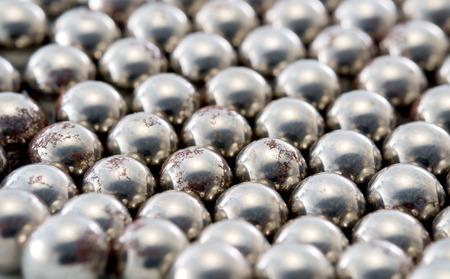 bearing: View of old rusty metallic bearing balls.
