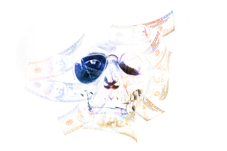 bad leadership: Skull head with dollar bills on white background. Double exposure.