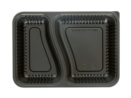 Plastic food container on white background. Top view.