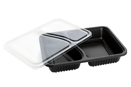Plastic food container on white background.