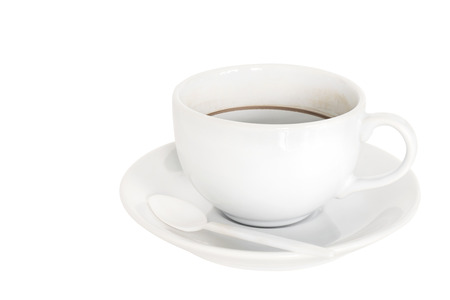 coffee stains: Empty coffee cup with coffee stains on white background.