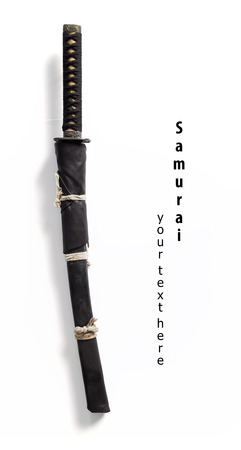 sheath: Japanese samurai sword and sheath on white background. Stock Photo