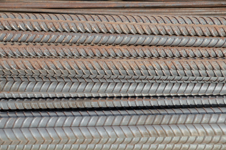 reinforce: Close up of old steel bar, use in construction to reinforce concrete.