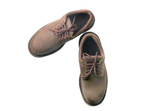 zapatos de seguridad: Zapatos de seguridad sobre fondo blanco. Dispositivos de protección para aplicaciones industriales. Vista superior.