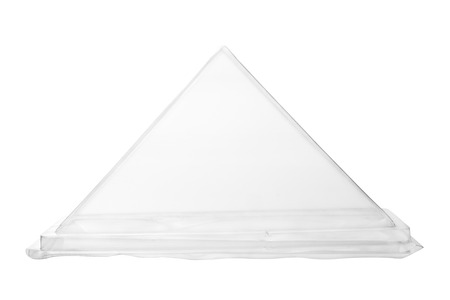 plastic container: Triangle plastic container on white background. Stock Photo