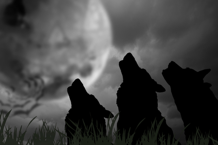 whine: Silhouette of wolves with moon at night. Digital retouch.