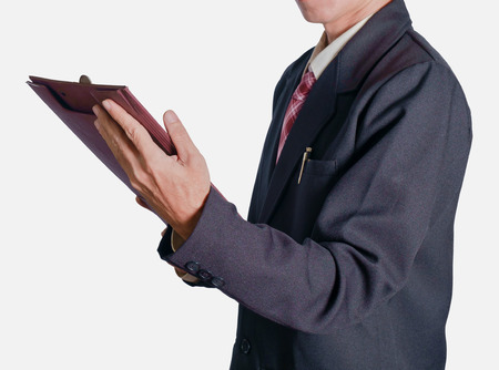 document file: View of businessman holding document file on white background.