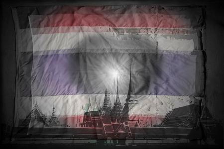 thai flag: Silhouette of wat thai and heart on old thai flag background. Dark tone.