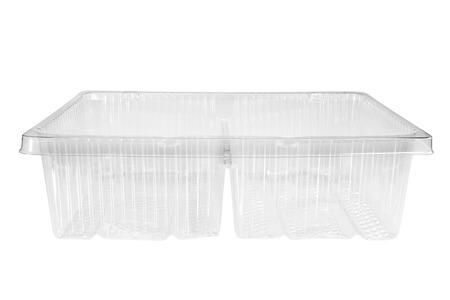 envases plasticos: recipiente de plástico sobre fondo blanco. Foto de archivo