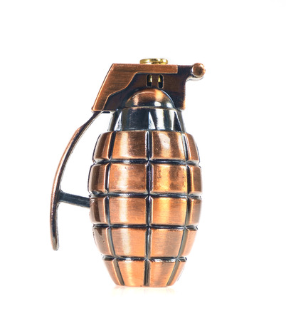 Toy hand grenade on white background. Stock Photo