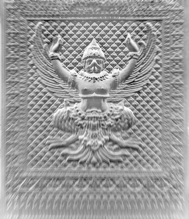 garuda: Motion blur of Sculpture of Garuda at night. Stock Photo
