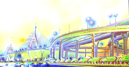 View of elevated expressway at night. Digital watercolor.