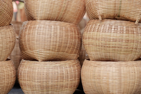 basketry: Closeup baskets on the table in the market.