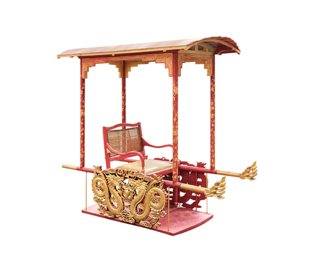 Traditional Chinese sedan chair on white background with clipping path.