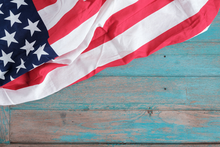 American Flag on wood background with copy space, for Independence Day background.